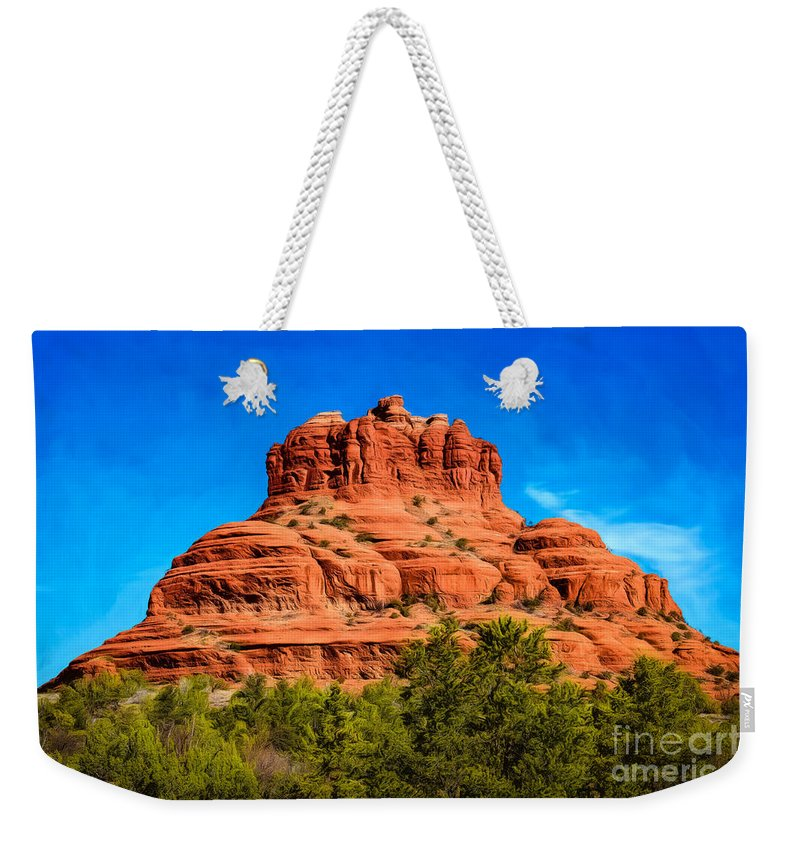 Arizona Weekender Tote Bag featuring the photograph Bell Rock Tower by Jon Burch Photography