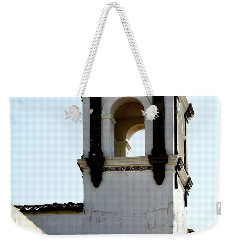 Bell Weekender Tote Bag featuring the photograph Bell Tower In Santa Cruz by Marilyn Hunt