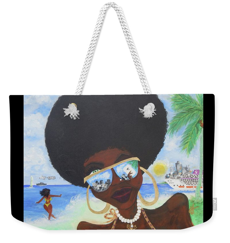 Miami Weekender Tote Bag featuring the painting Bella En Miami - Blm by Jorge Delara