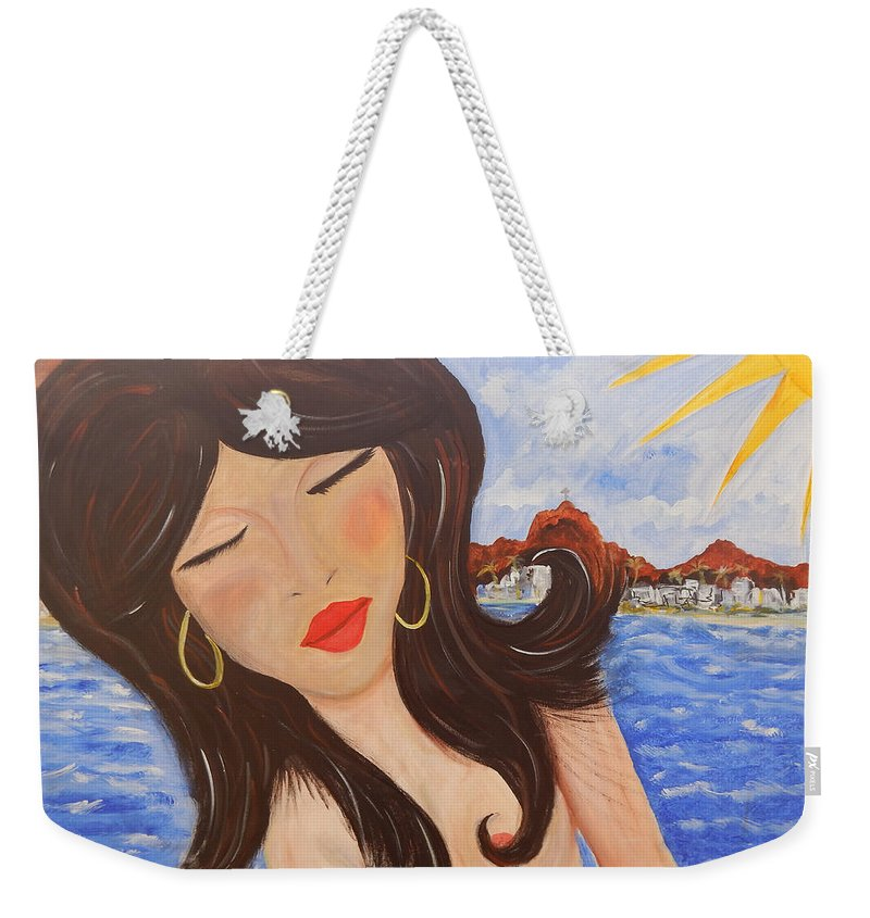 Woman Weekender Tote Bag featuring the painting Bella En Rio by Jorge Delara