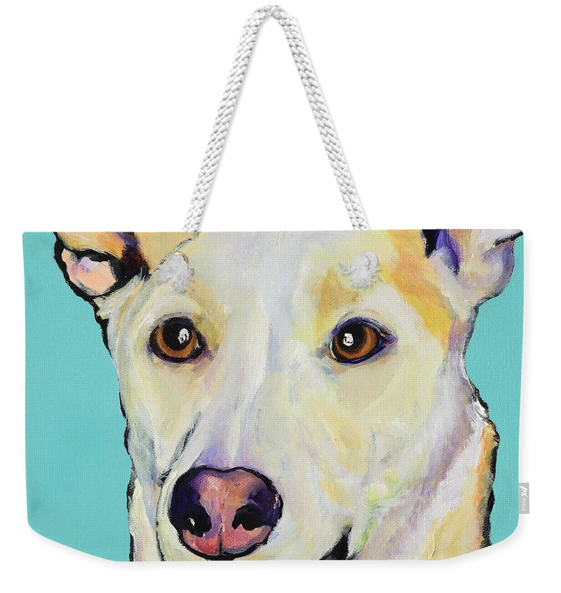 Dog Paintings Weekender Tote Bag featuring the painting Bella by Pat Saunders-White