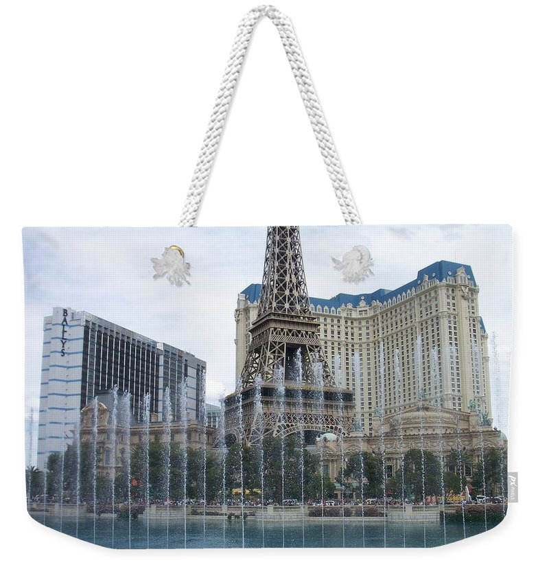 Bellagio Fountain Weekender Tote Bag featuring the photograph Bellagio Fountain 1 by Anita Burgermeister