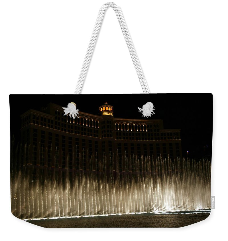 Bellagio Fountains Las Vegas Nevada Show Water Hotel Weekender Tote Bag featuring the photograph Bellagio Fountains by Andrea Lawrence