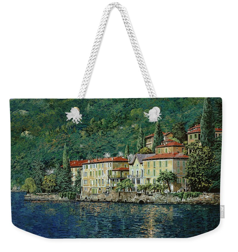 Landscape Weekender Tote Bag featuring the painting Bellano On Lake Como by Guido Borelli