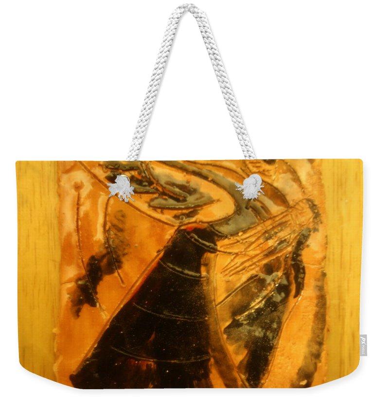 Jesus Weekender Tote Bag featuring the ceramic art Belle Ms Miss - Tile by Gloria Ssali