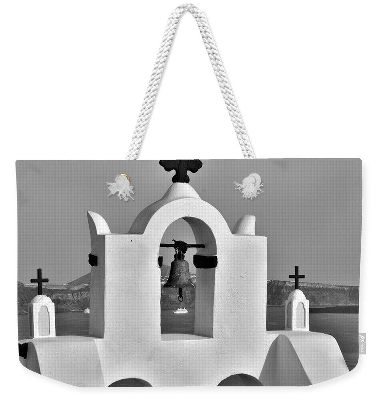 Santorini Weekender Tote Bag featuring the photograph Bells In Oia Bw by Jeremy Hayden