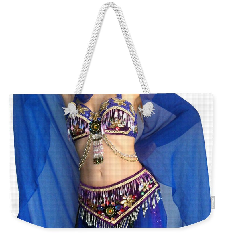 Ameynra Weekender Tote Bag featuring the photograph Belly Dance Modeling. Sofia Of Ameynra by Sofia Metal Queen