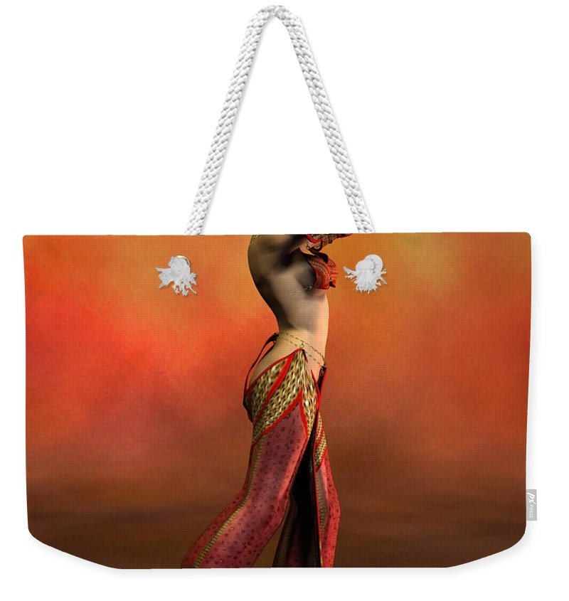 Belly Dancer Weekender Tote Bag featuring the digital art Belly Dancer by John Junek