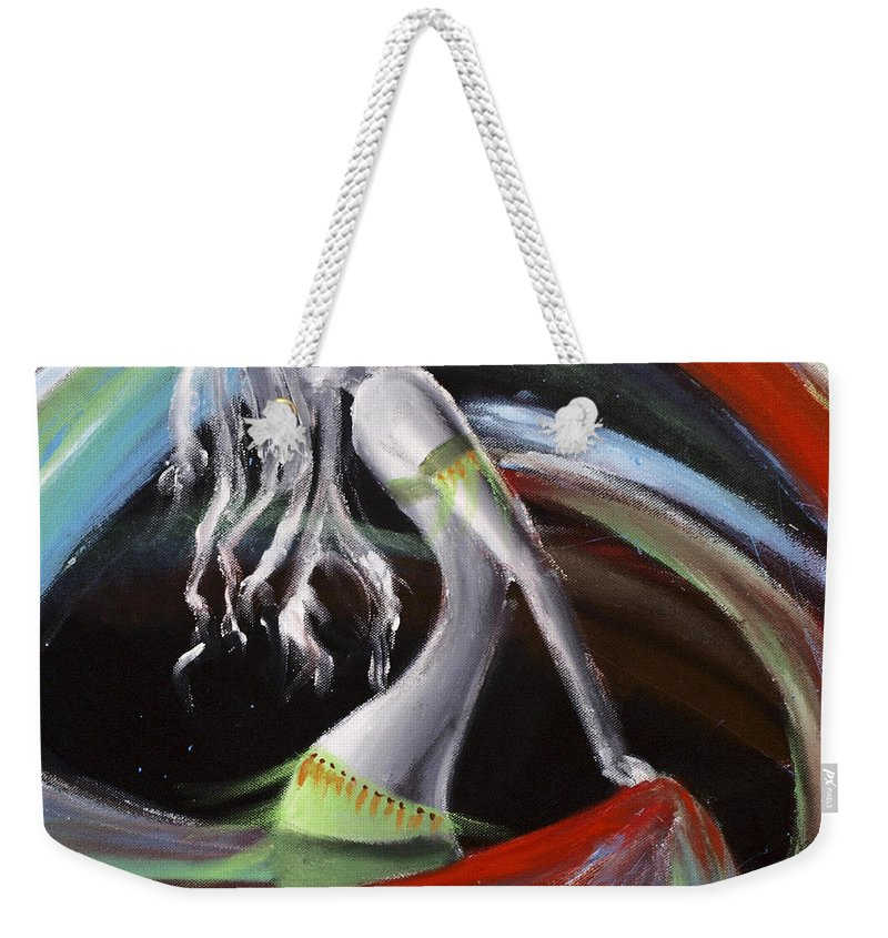 Colourful Weekender Tote Bag featuring the painting Belly Dancer by Kelly Jade King