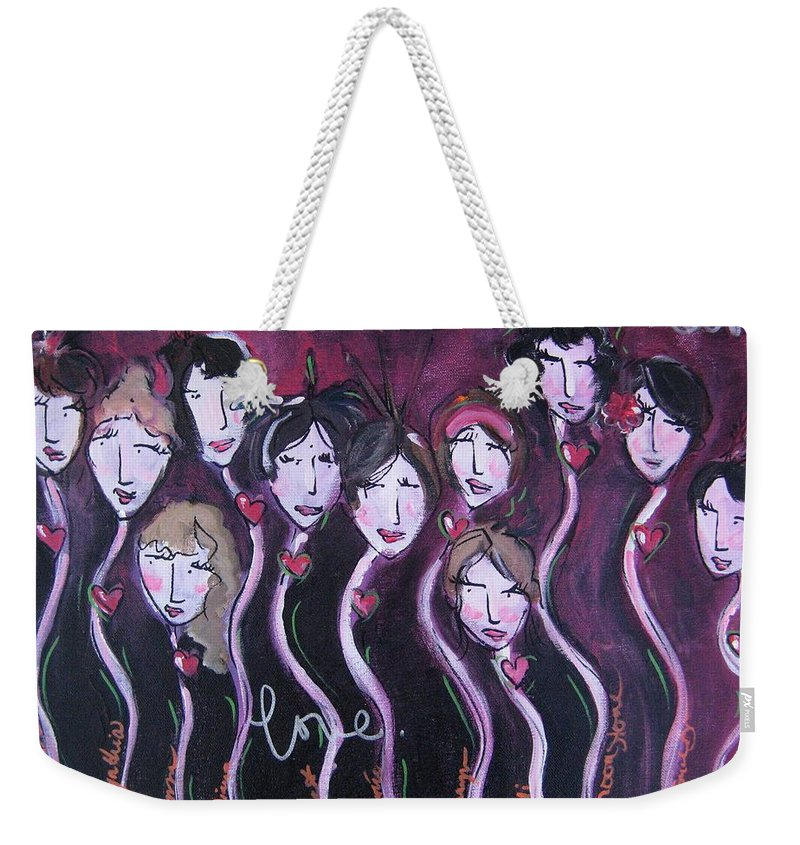 Red Weekender Tote Bag featuring the painting Belly Dancers With Love by Laurie Maves ART