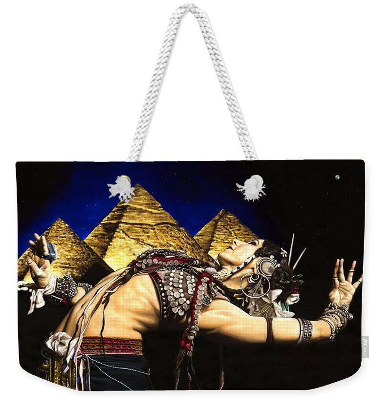 Bellydance Weekender Tote Bag featuring the painting Bellydance Of The Pyramids - Rachel Brice by Richard Young