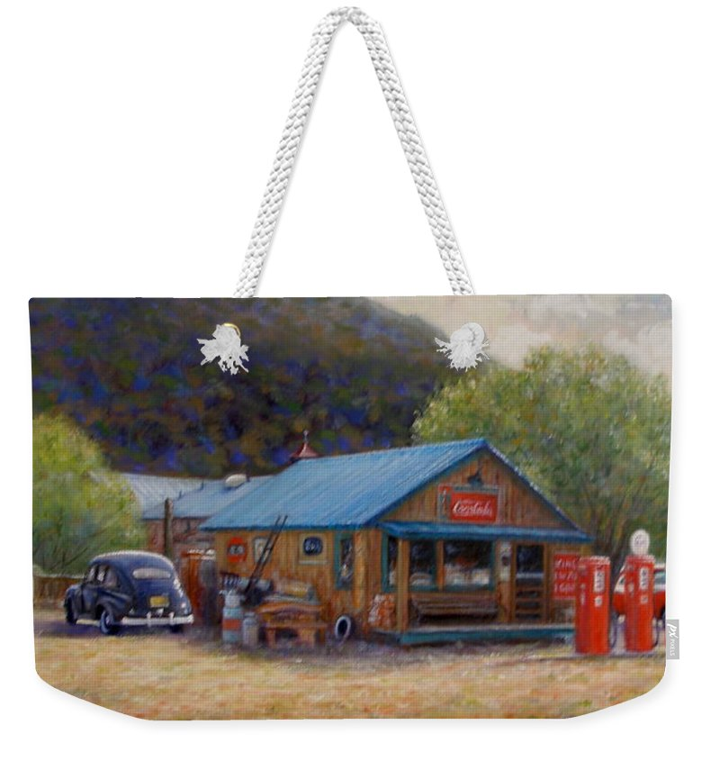 Realism Weekender Tote Bag featuring the painting Below Taos 2 by Donelli DiMaria