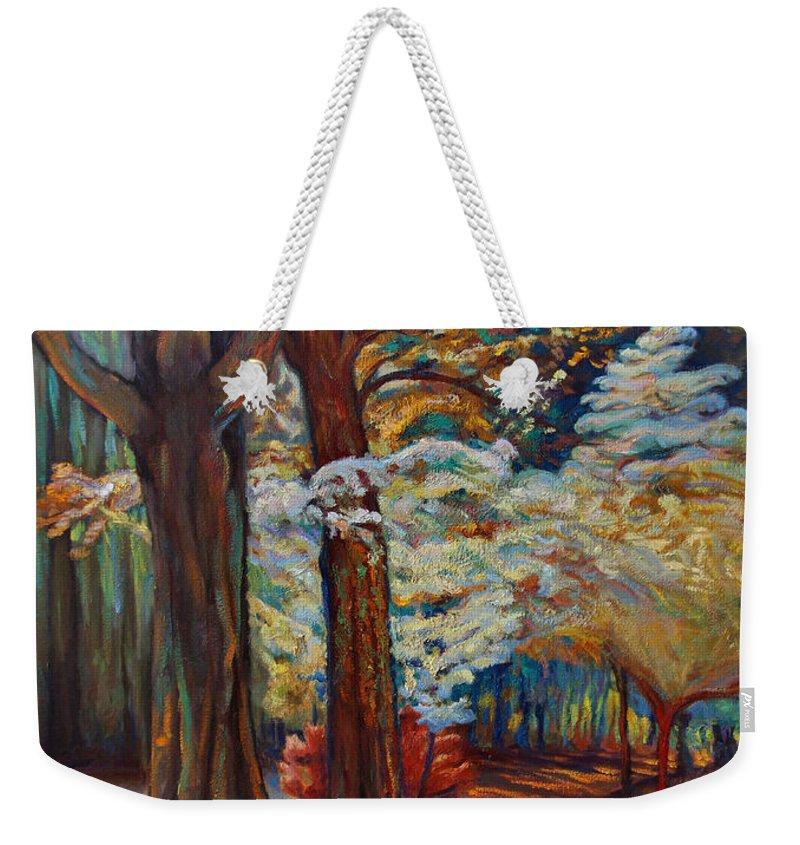 Trees Weekender Tote Bag featuring the painting Below The Blossums by Maris Salmins
