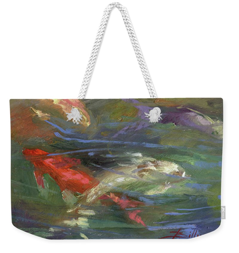 Plein Air Weekender Tote Bag featuring the painting Below The Surface by Betty Jean Billups