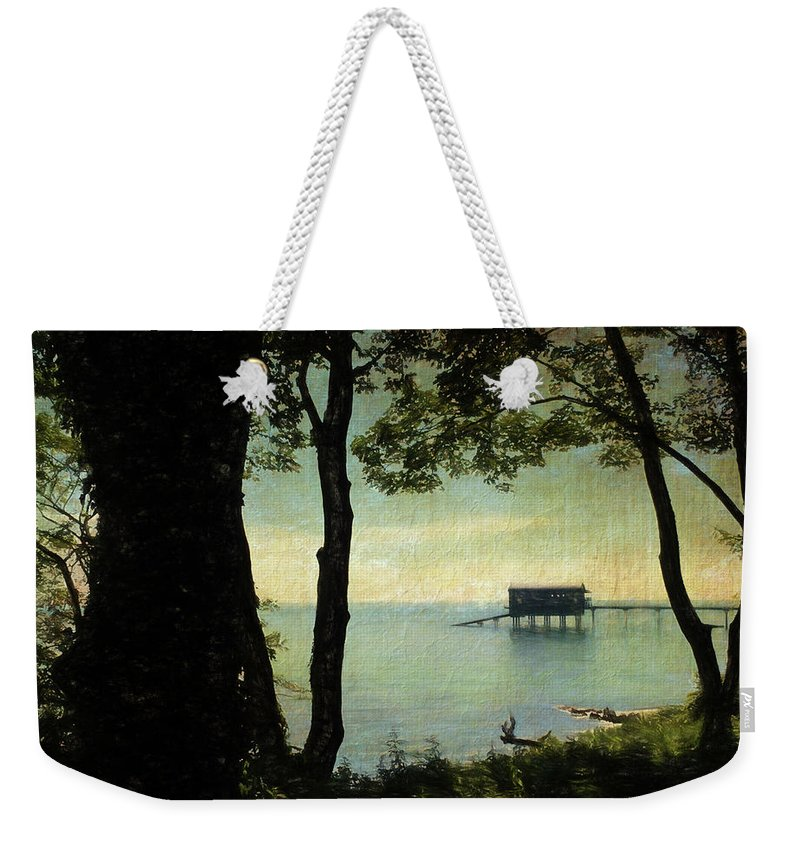 Trees Weekender Tote Bag featuring the digital art Bembridge Lifeboat Station by Sarah Vernon