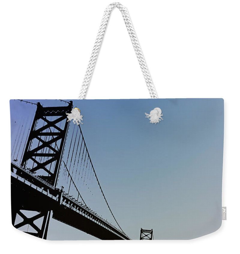 Philadelphia Weekender Tote Bag featuring the photograph Ben Franklin Bridge by Bill Cannon