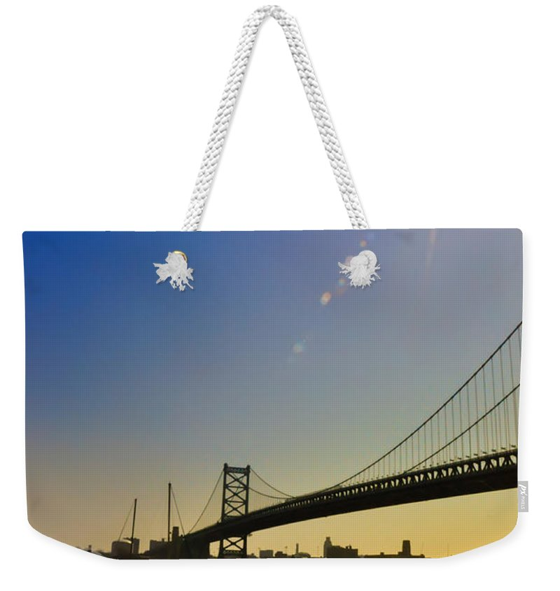 Philadelphia Weekender Tote Bag featuring the photograph Ben Franklin Bridge From The Marina by Bill Cannon