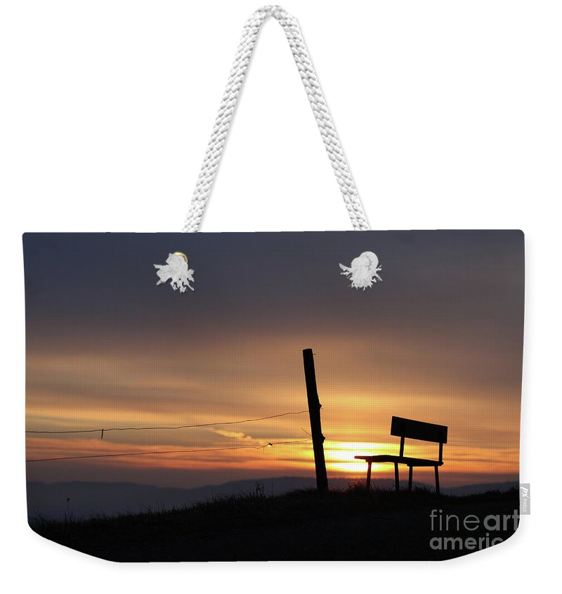 Bench Weekender Tote Bag featuring the photograph Bench In The Morning by Jana Behr