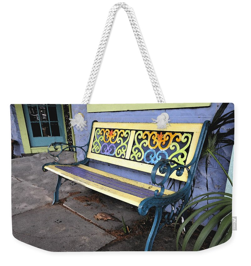 Bench Weekender Tote Bag featuring the painting Bench Of Color by David Lee Thompson