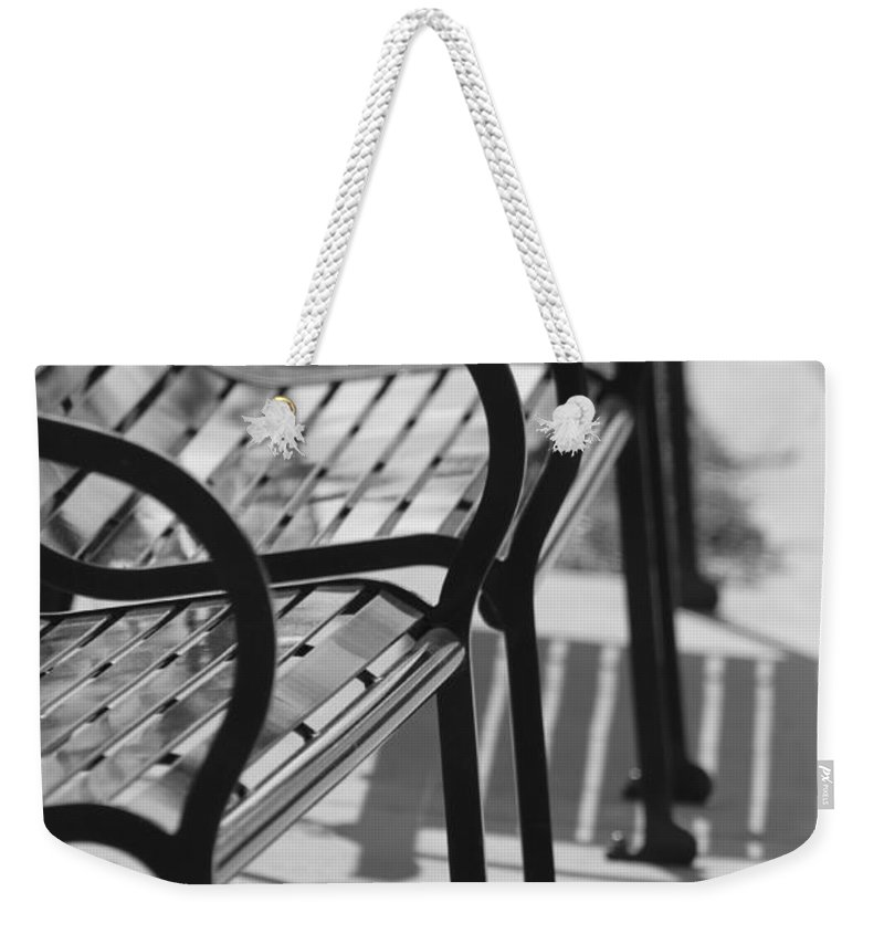 Bench Weekender Tote Bag featuring the photograph Bench Shadows by Lauri Novak