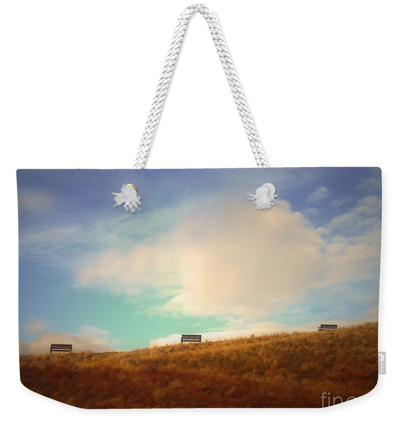 Benches Weekender Tote Bag featuring the photograph Benches With A View 2 by Tara Turner