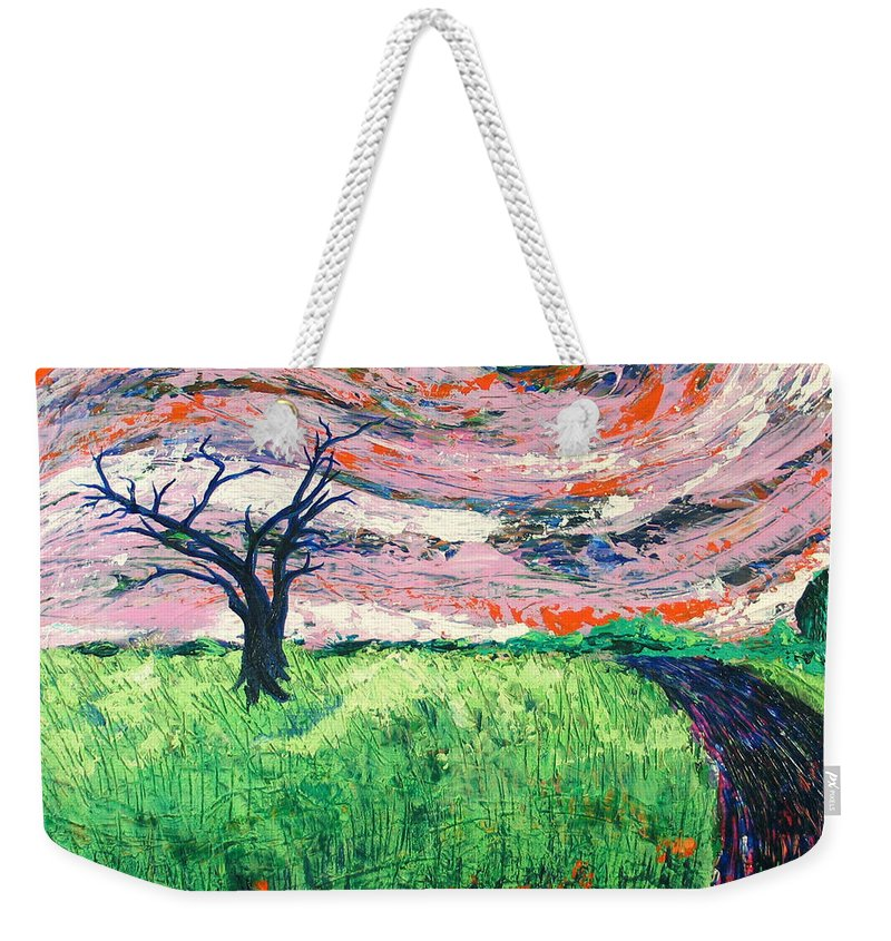 Landscape Weekender Tote Bag featuring the painting Bend by Rollin Kocsis