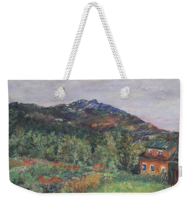 Mt. Weekender Tote Bag featuring the pastel Beneath A Mighty Giant by Alicia Drakiotes