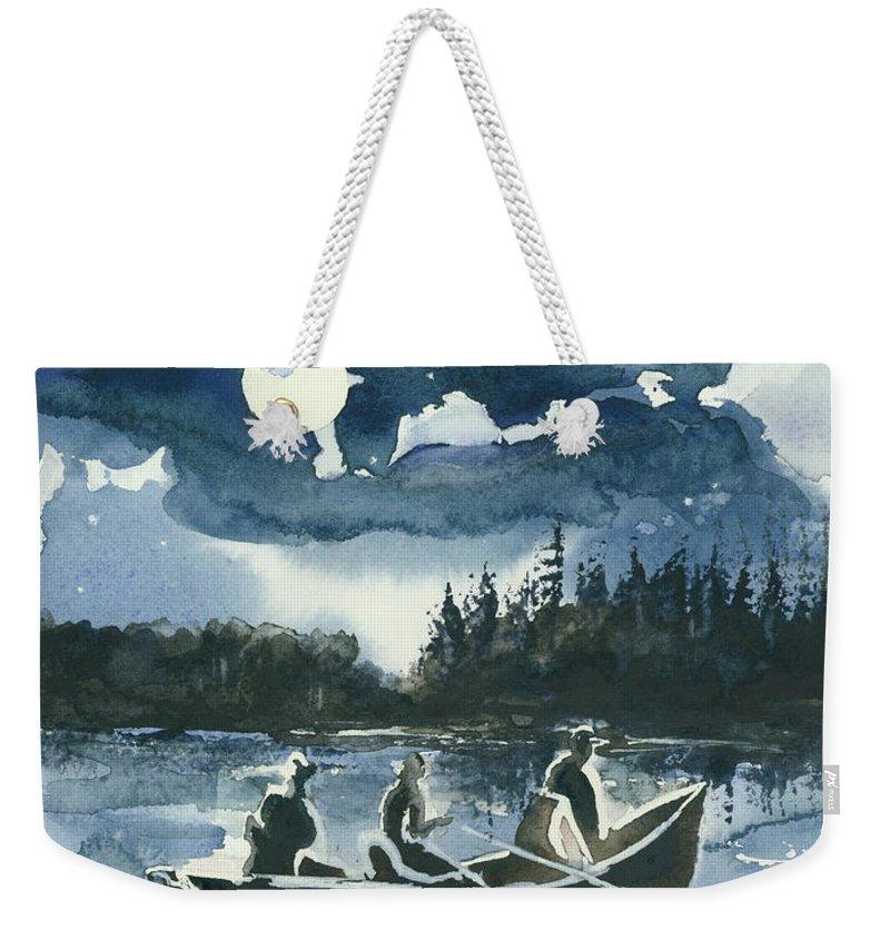 Watercolor Weekender Tote Bag featuring the painting Beneath The Stars by Elisabeta Hermann