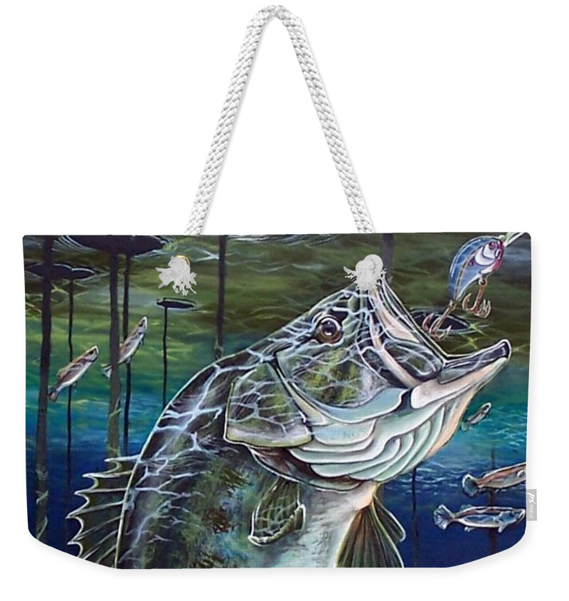 Bass Weekender Tote Bag featuring the painting Beneath The Surface by Monica Turner
