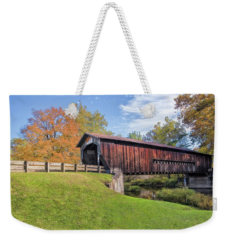Architecture Weekender Tote Bag featuring the photograph Benetka Road Covered Bridge by Marcia Colelli