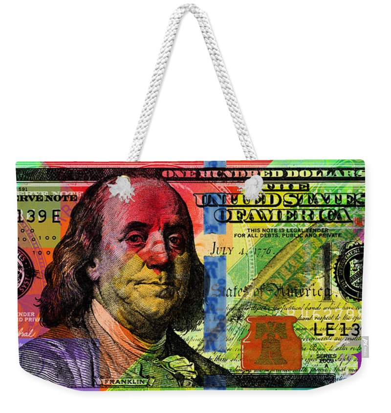 Franklin Weekender Tote Bag featuring the digital art Benjamin Franklin $100 Bill - Full Size by Jean luc Comperat