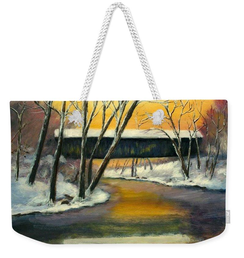 Kentucky Weekender Tote Bag featuring the painting Bennett by Gail Kirtz