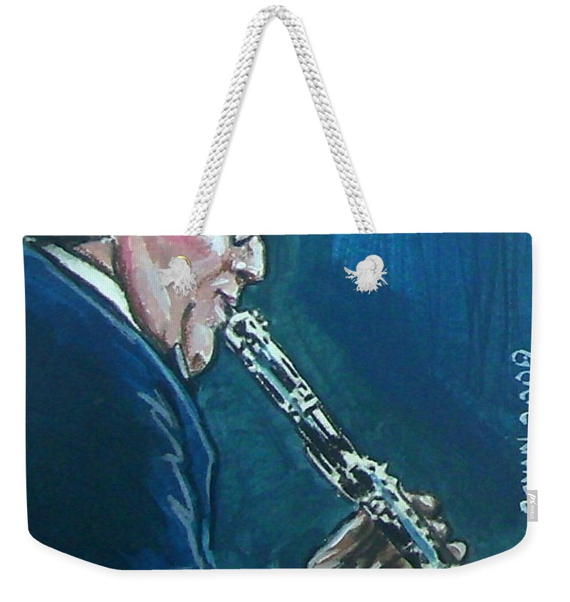 Benny Goodman Weekender Tote Bag featuring the painting Benny Goodman by Bryan Bustard
