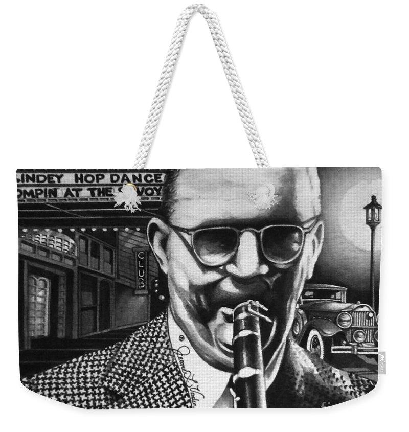 American Jazz Weekender Tote Bag featuring the painting Benny Goodman by JL Vaden