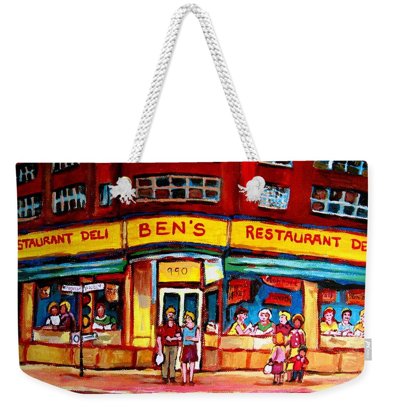 Bens Famous Restaurant Weekender Tote Bag featuring the painting Ben's Delicatessen - Montreal Memories - Montreal Landmarks - Montreal City Scene - Paintings by Carole Spandau