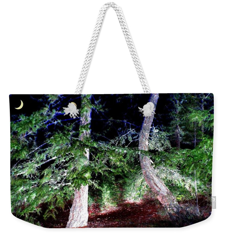 Forest Weekender Tote Bag featuring the digital art Bent Fir Tree by Will Borden