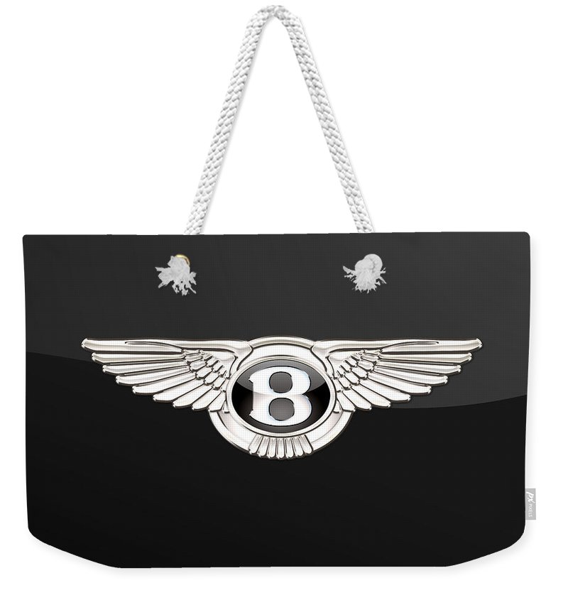 'wheels Of Fortune' By Serge Averbukh Weekender Tote Bag featuring the photograph Bentley - 3 D Badge On Black by Serge Averbukh