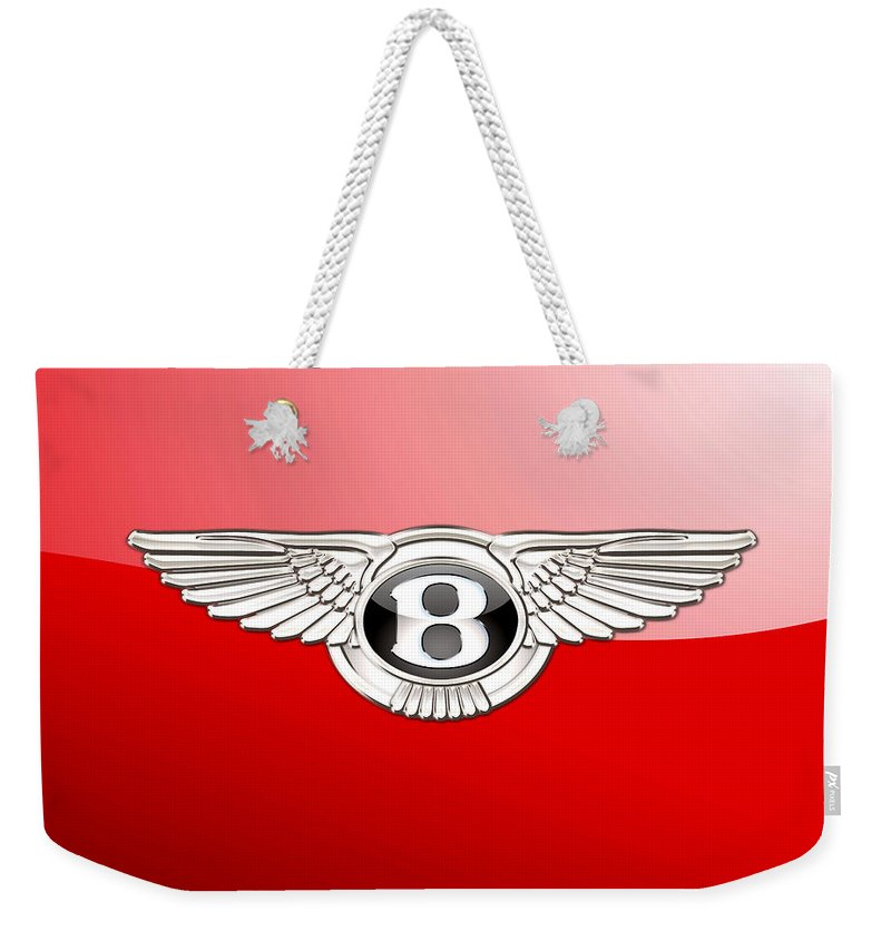 Wheels Of Fortune� Collection By Serge Averbukh Weekender Tote Bag featuring the photograph Bentley 3 D Badge on Red by Serge Averbukh