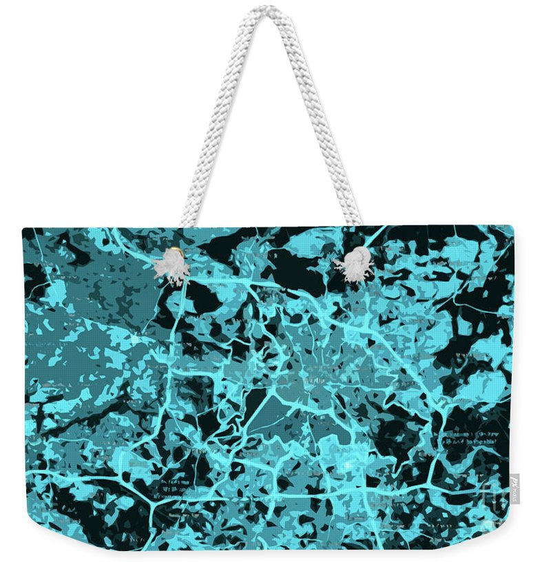 Berlin Weekender Tote Bag featuring the digital art Berlin Traffic Abstract Blue Map by Drawspots Illustrations