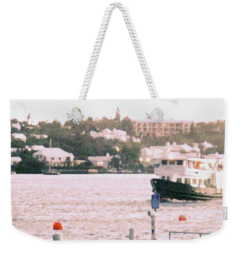 Hamilton Weekender Tote Bag featuring the photograph Bermuda Ferry Arriving by Ian MacDonald
