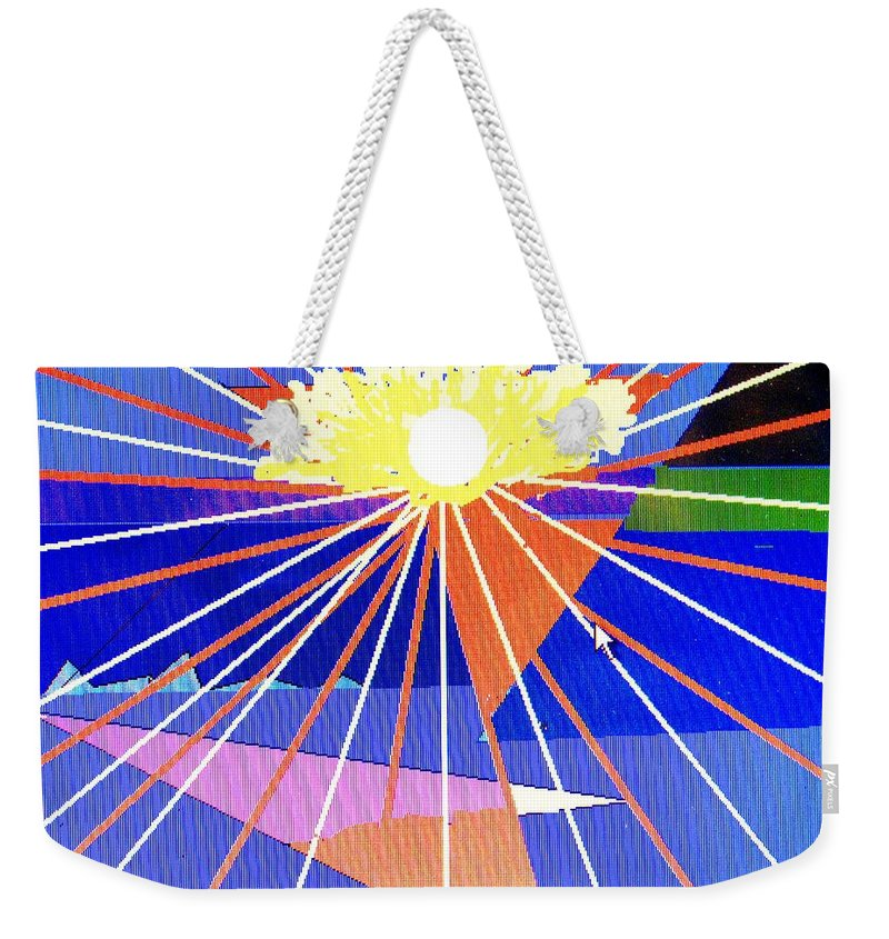 Sunset Weekender Tote Bag featuring the digital art Bermuda Sunset by Ian MacDonald