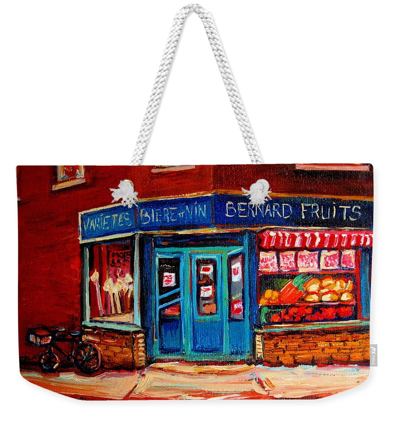 Bernard Fruit And Broomstore Weekender Tote Bag featuring the painting Bernard Fruit And Broomstore by Carole Spandau