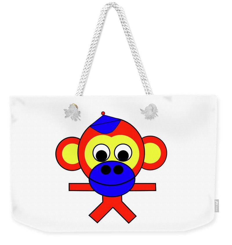 Bernhard The Monkey Weekender Tote Bag featuring the digital art Bernhard the Monkey by Asbjorn Lonvig