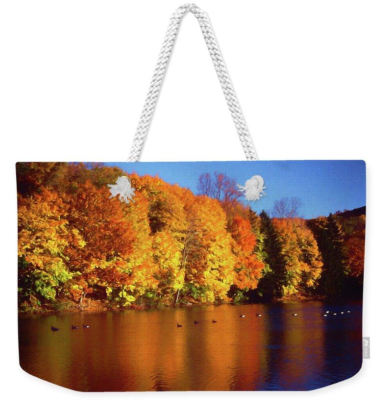 Bernharts Dam Weekender Tote Bag featuring the photograph Bernharts Dam Fall 008 by Scott McAllister