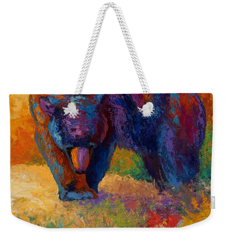 Bear Weekender Tote Bag featuring the painting Berry Hunting by Marion Rose