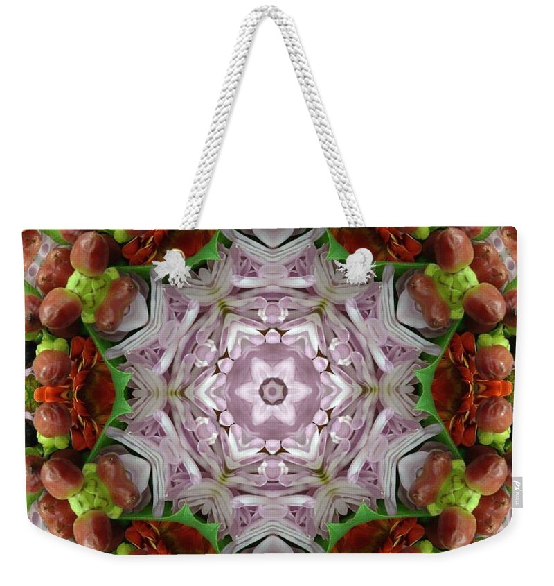 Kaleidoscope Weekender Tote Bag featuring the photograph Berry Kaleidoscope by Pamela Picassito
