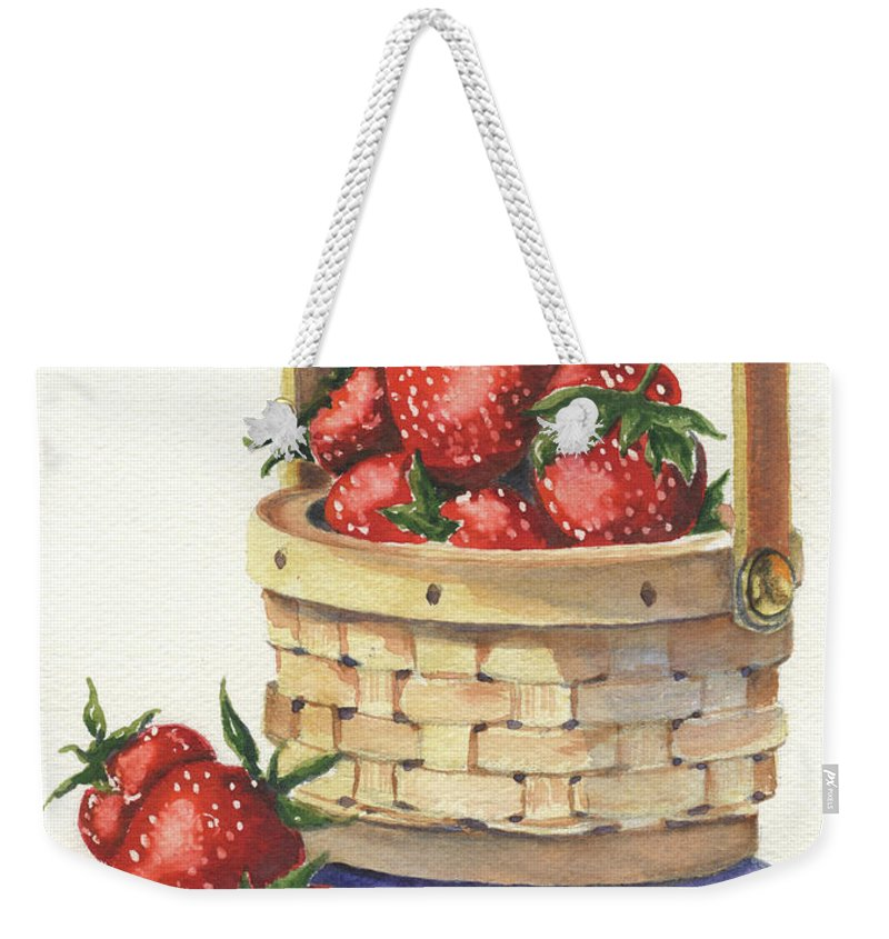 Berry Weekender Tote Bag featuring the painting Berry Nice by Marsha Elliott