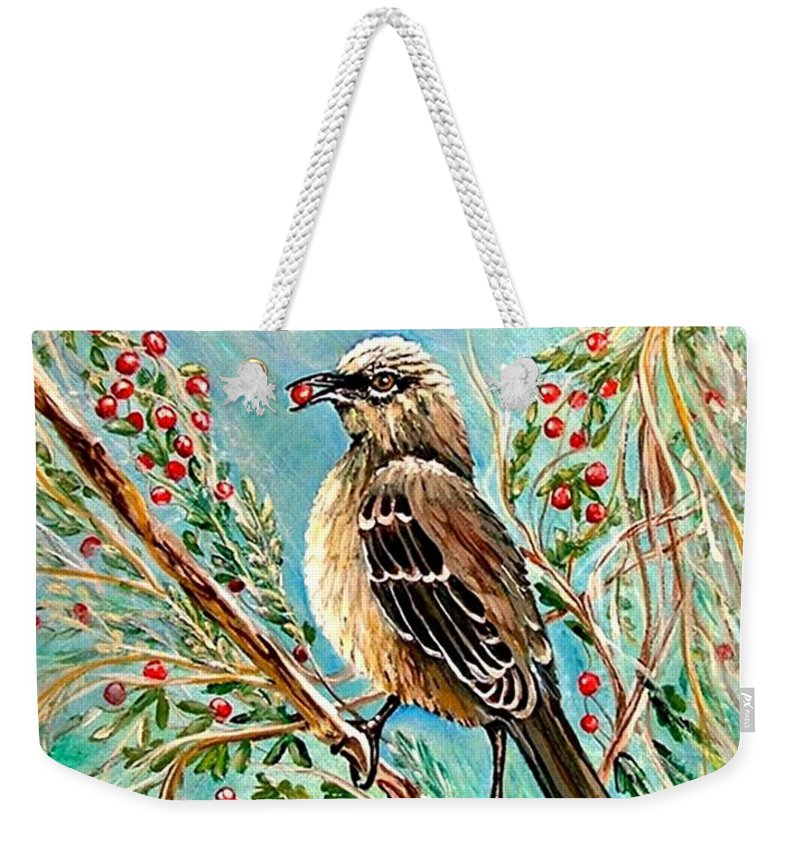 Mocking Bird Weekender Tote Bag featuring the painting Berry Picking Time by Carol Allen Anfinsen