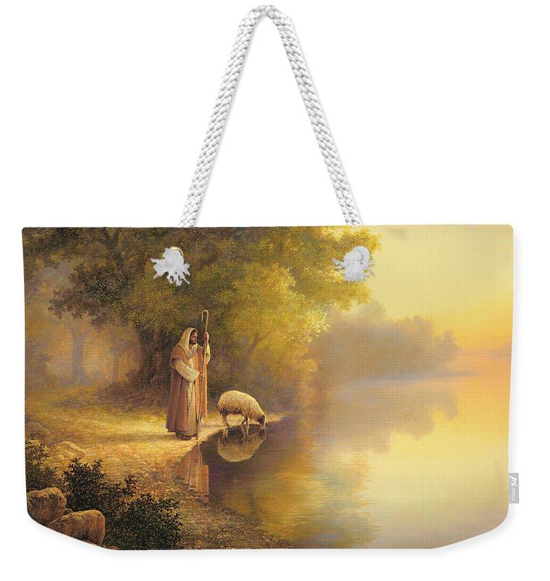Jesus Weekender Tote Bag featuring the painting Beside Still Waters by Greg Olsen