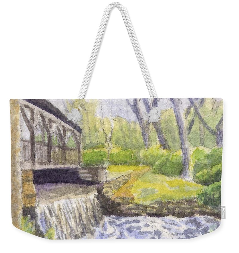 Moore State Park Weekender Tote Bag featuring the painting Beside The Dam by Sharon E Allen
